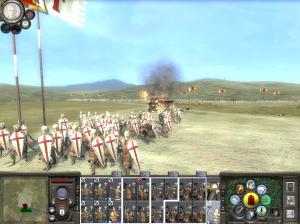 Cavaleiros infantes dos Cruzados e aríete em chamas na tomada da antióquia